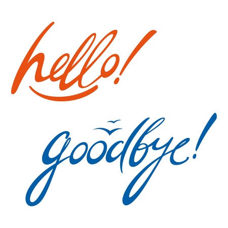 the farewell: Hello Goodbye la firma de mensajes del documento escrito Vectores
