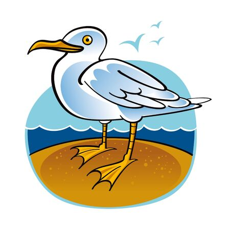 sea gull: Sea Gull bird ocean beach fauna nature Illustration