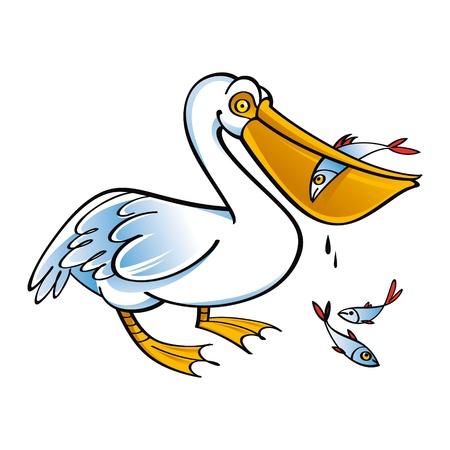 Pelican with Fish food bird fauna Vector