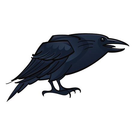 Raven Crow black bird fauna Vector