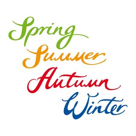 Frühling Sommer Herbst Winter Jahr vier Jahreszeiten Vektorgrafik