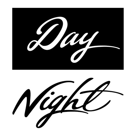 dia y noche: Día Noche tiempo abstracto de inscripción, negro, blanco Vectores