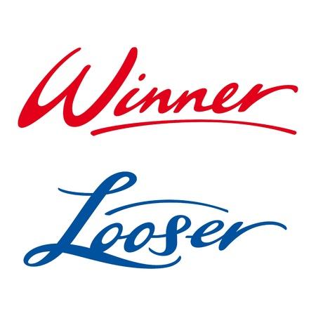 looser: Winner Looser play game sport success victory defeat Illustration