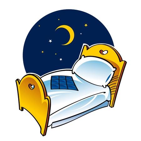 łóżko: Sen sen łóżko noc, księżyc, poduszka koc