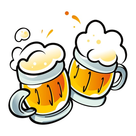 Beer Mugs drink alcohol pub party Vector