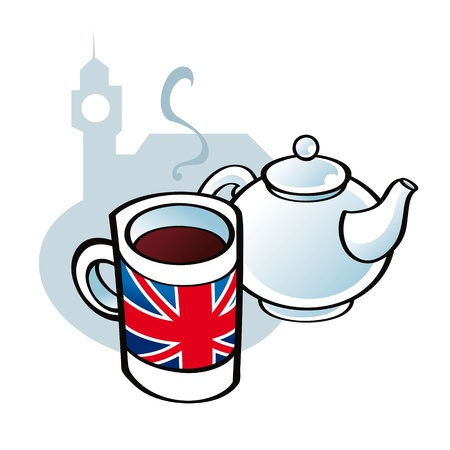 union jack flag: English Tea drink tradition pot