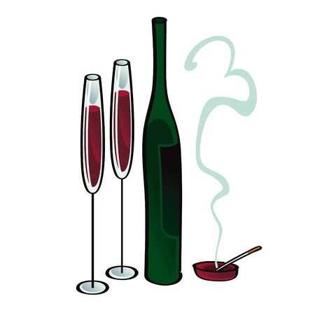Wine and Cigarette alcohol smoke abuse drink glass Stock Vector - 11852261