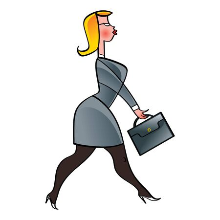 Walking Businesswoman in suit, glasses and briefcase job work office Stock Vector - 11852379
