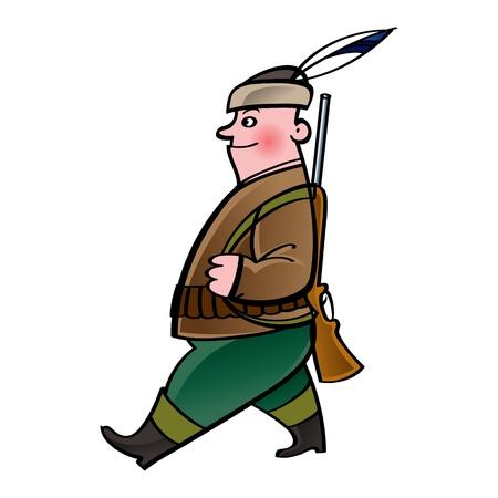 Hunter - walking man with gun rifle feather
