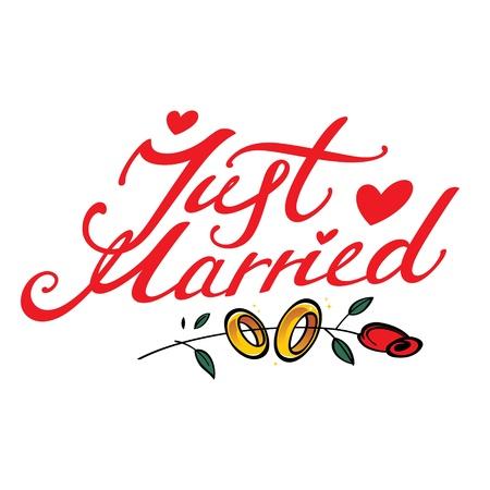 recien casados: Just Married - inscripción para postal de la boda de flores de oro anillo de evento cardiaco se elevó el matrimonio el amor Vectores