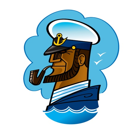 sailor: Sea Captain sailor ocean smoking pipe wave anchor Illustration