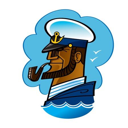 pijp roken: Sea Captain zeeman oceaan rokende pijp golf anker Stock Illustratie