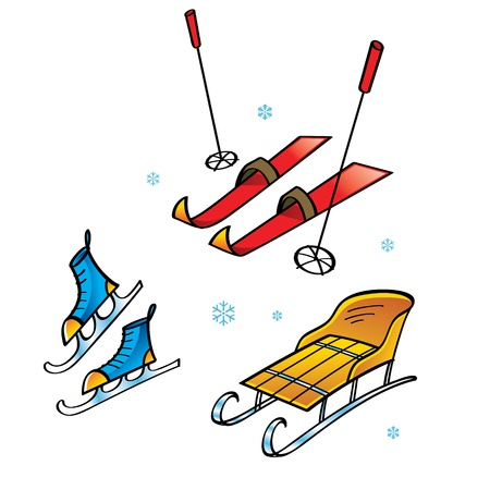 ice slide: Skis Skates Sledge - winter sports and activity snow flakes