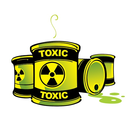 barrels with nuclear waste: Toxic Barrels hazard radioactive poison container