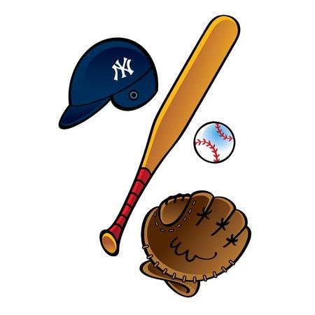 Ensemble de base-ball - casque boule chauve-souris pas le sport jeu gant Vecteurs
