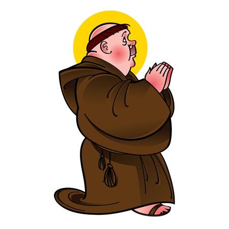 sacerdote: Santo San Monk oraci�n adormecer la religi�n cat�lica Vectores