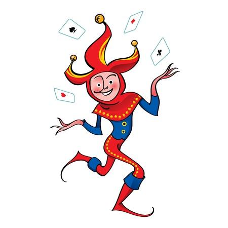 cartas de poker: Joker payaso jugando a las cartas tapacubos enfoque divertido truco circense lago Vectores