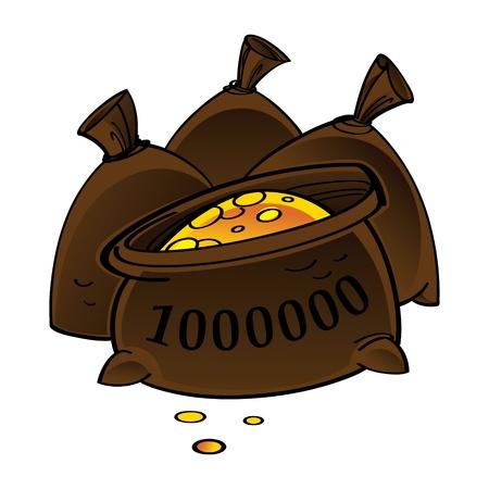 jack pot: Saco con el dinero del tesoro rico en millones de monedas de oro suerte deposite finanzas apuesta Vectores