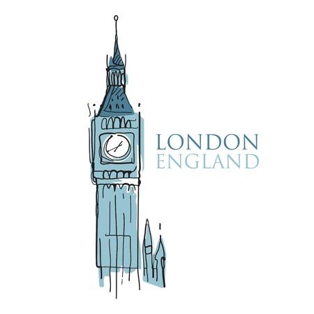 london: Wereld beroemde bezienswaardigheid - Big Ben Londen Engeland Stock Illustratie