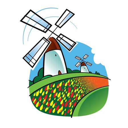 niederlande: Der weltber�hmte Wahrzeichen - holl�ndische Windm�hlen und Tulpen Blumen Illustration
