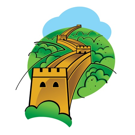 World famous landmark - Great Chinese Wall  Vector