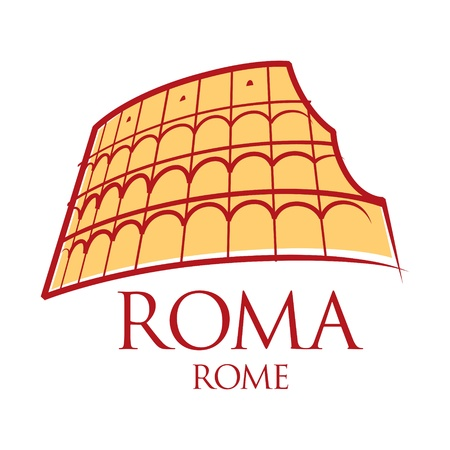 World famous landmark - Rome Colosseum Italy  Vector