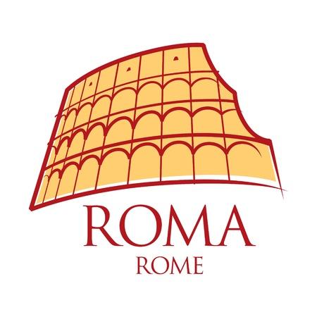 arena: World famous landmark - Rome Colosseum Italy  Illustration
