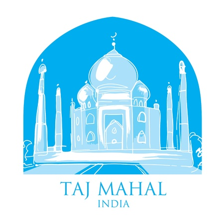 taj: World famous landmark - Taj Mahal India  Illustration