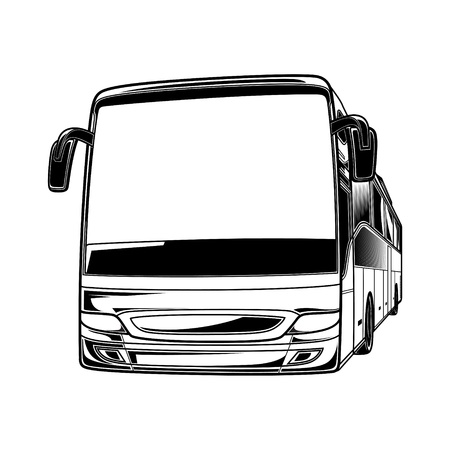 tour bus: Big vector black and white transport car Bus travel traffic tourist