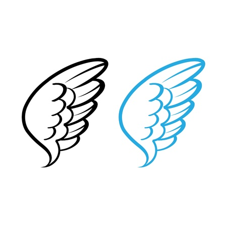wing: Vector illustration of Bird wing white feathers dove swan angel chicken hen