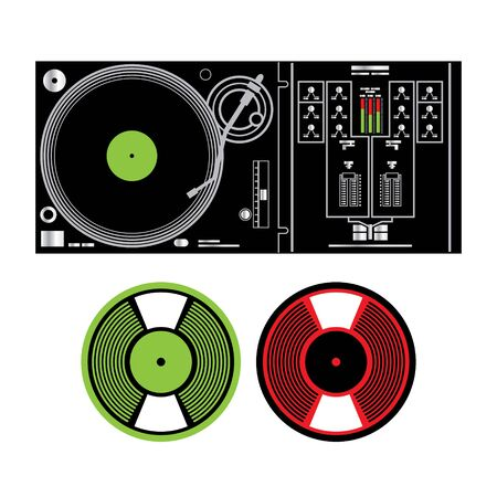 dj mixer: Vector DJ Turntable and Vinyl Records disco music party tune electronic digital analog Illustration