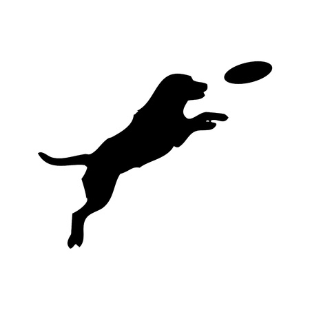 Vector black silhouette of jumping Dog and plastic disc animal pet game play