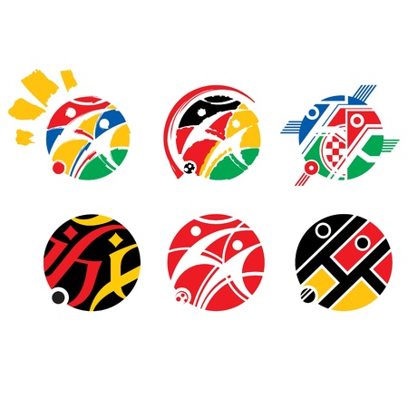 variations set: Vector set of Football Soccer Logotype abstract variations for tournament  game design sign symbol