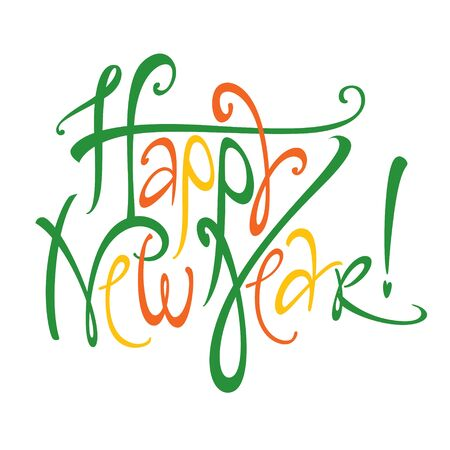 Vector colorful inscription Happy New Year holiday event postcard Stock Vector - 11914784