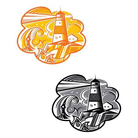 Vector illustration of Lighthouse sky sea rocks storm building Иллюстрация