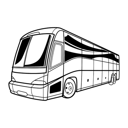 Big vector black and white transport tourist Bus car travel Vector