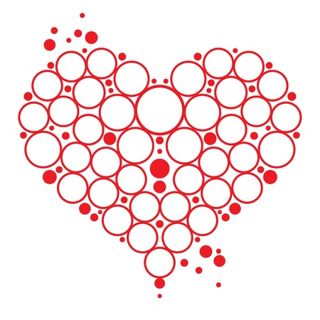 Love symbol red Heart with bubbles decorative element  Valentines day postcard Stock Vector - 11915397