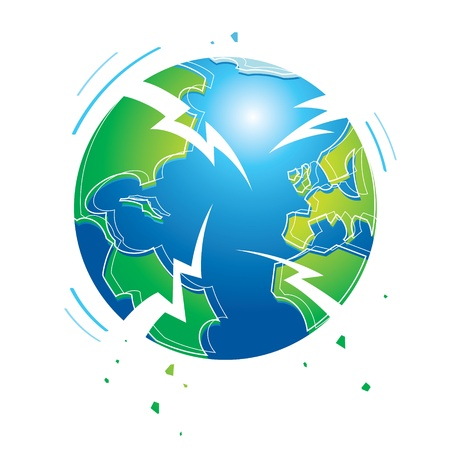 Shaking earth earthquake world planet catastrophe flood apocalypse crisis Stock Vector - 11915396
