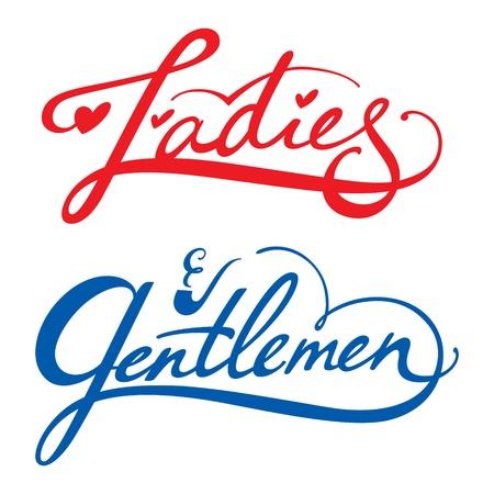 femme dressing: Mesdames Messieurs vecteur inscription homme femme dressing toilettes salle de repos