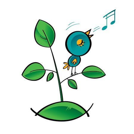 song bird: Bird singer song note tune grass plant green leave music melody