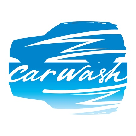 Car Wash clean clear service automobile sign vehicle Vector