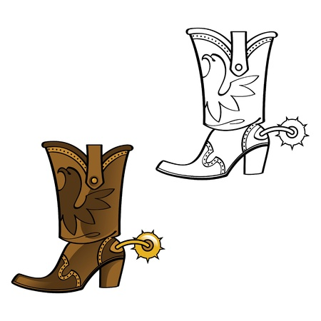 clip art feet: Cowboy boot shoe leather west western spur foot wear fashion