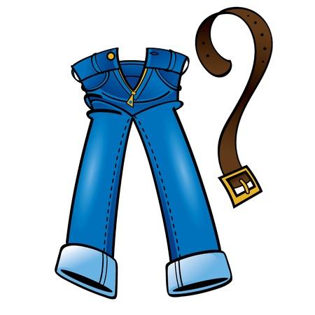 cintur�n de cuero: Algod�n denim jeans de moda usar cintur�n de cuero de compras Vectores