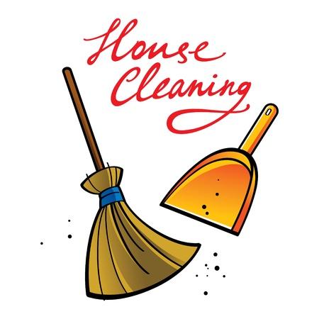 clean home: House Cleaning bezem borstel stof, vuil-service schop