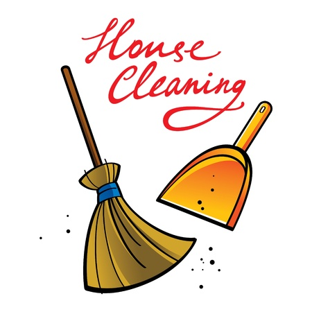 house cleaning: House Cleaning broom brush dust dirt service shovel  Illustration