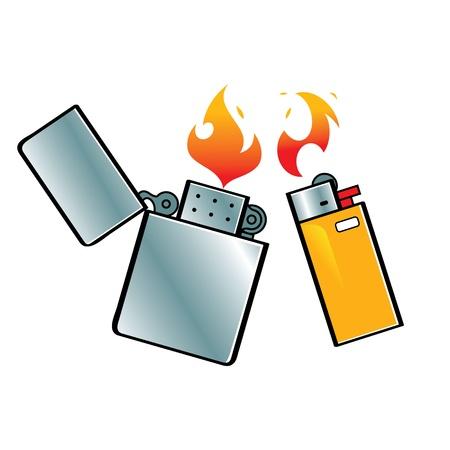 encendedores: Encendedores de combustible de acero fuego llama fumar de gas Vectores