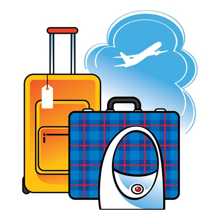 booking: Luggage suitcase bag airport travel sky clouds airplane flight arrival departure