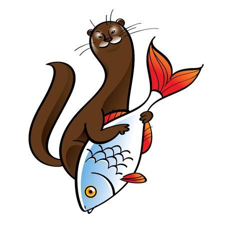 gronostaj: Tchórz gronostaj futro myśliwy jedzenie połów ryb fauna komórek Ilustracja