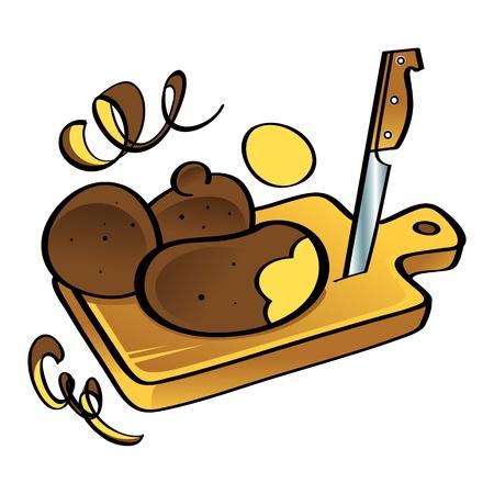 kitchen garden: Potato vegetable food knife wooden desk kitchen