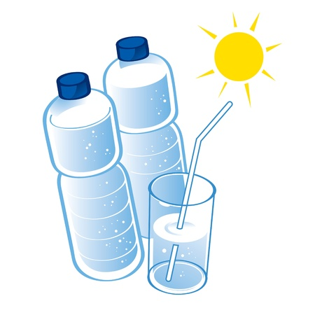 spring water: Spring Water plastic bottle health diet drink glass  Illustration